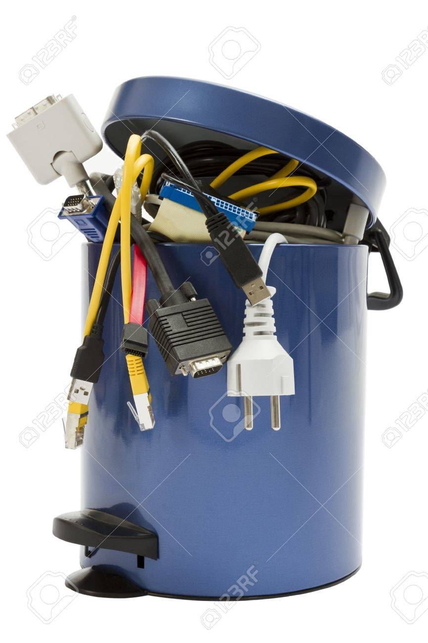 E waste background images - Small Trashcan With Electronic Waste On White Background
