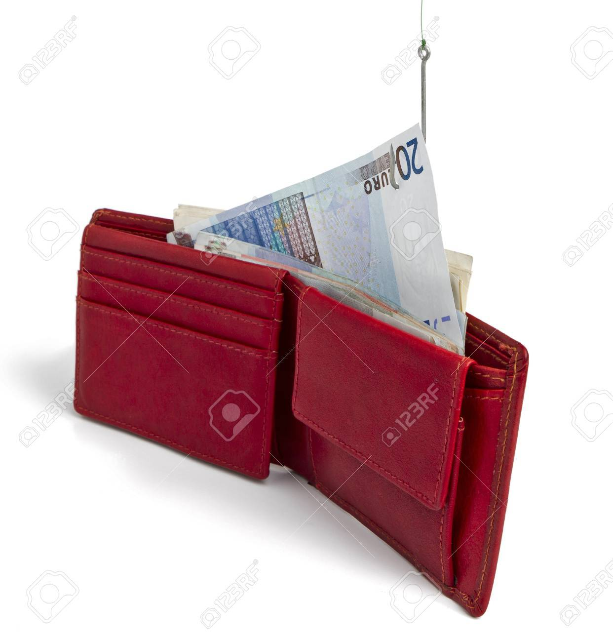 stealing cash card out of red wallet -  isolated on white background Stock Photo - 13780839