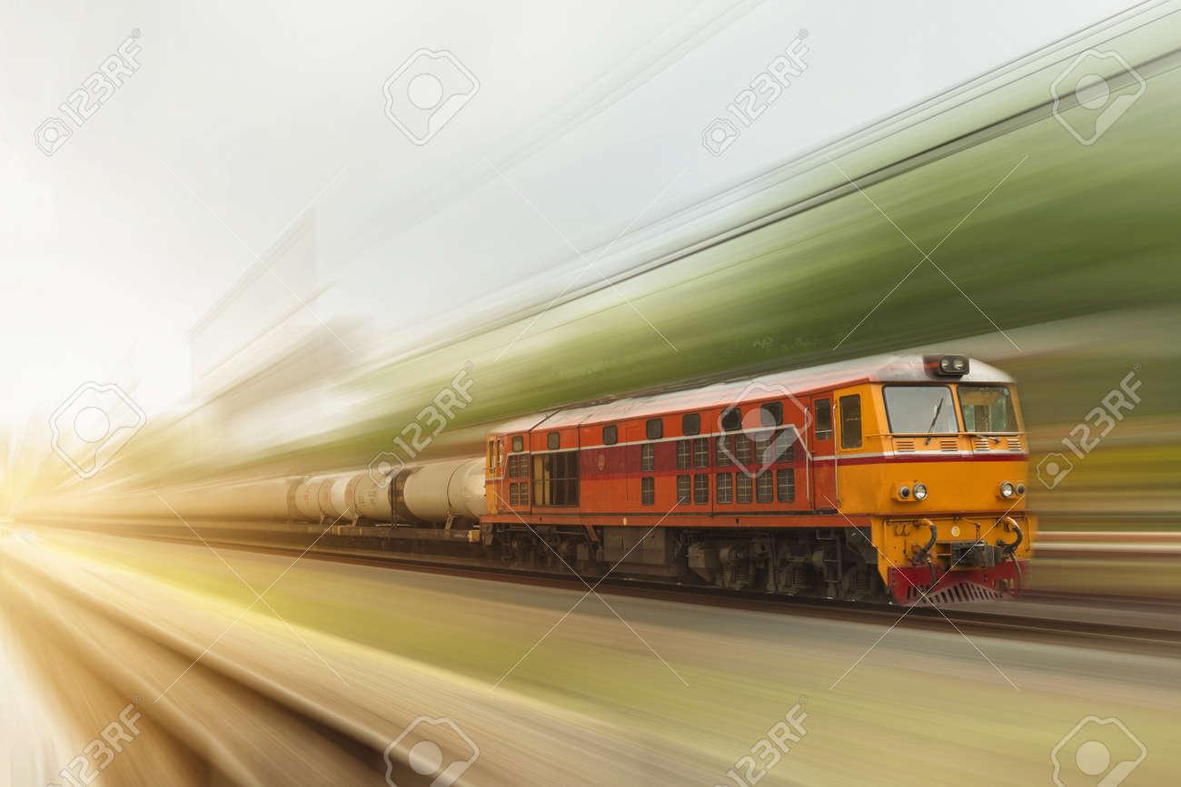 The diesel engine train is running at speed,motion blur - 127032671