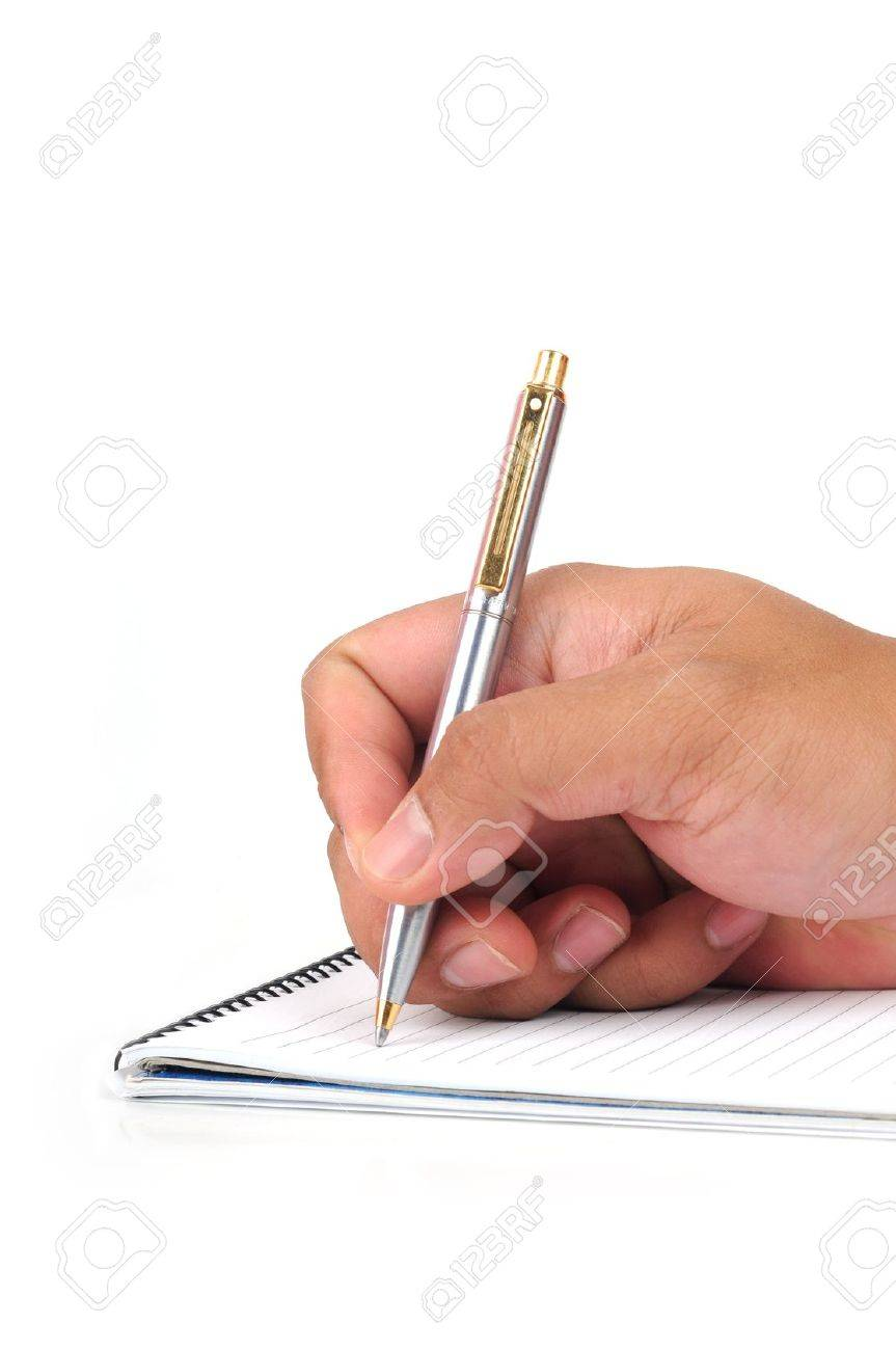 hand hold a pen writing isolated white background Stock Photo - 11079973