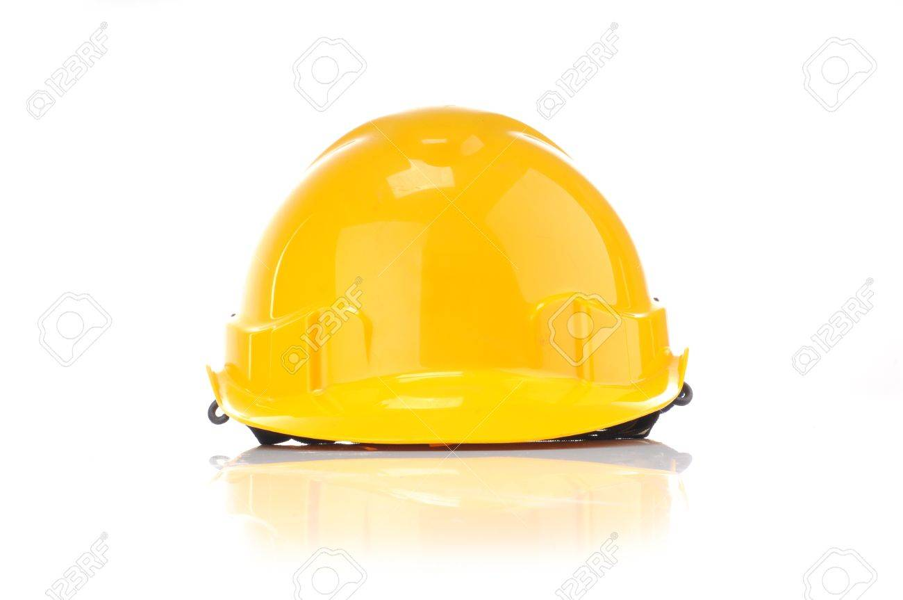 yellow safty helmet from front isolated white background stock photo