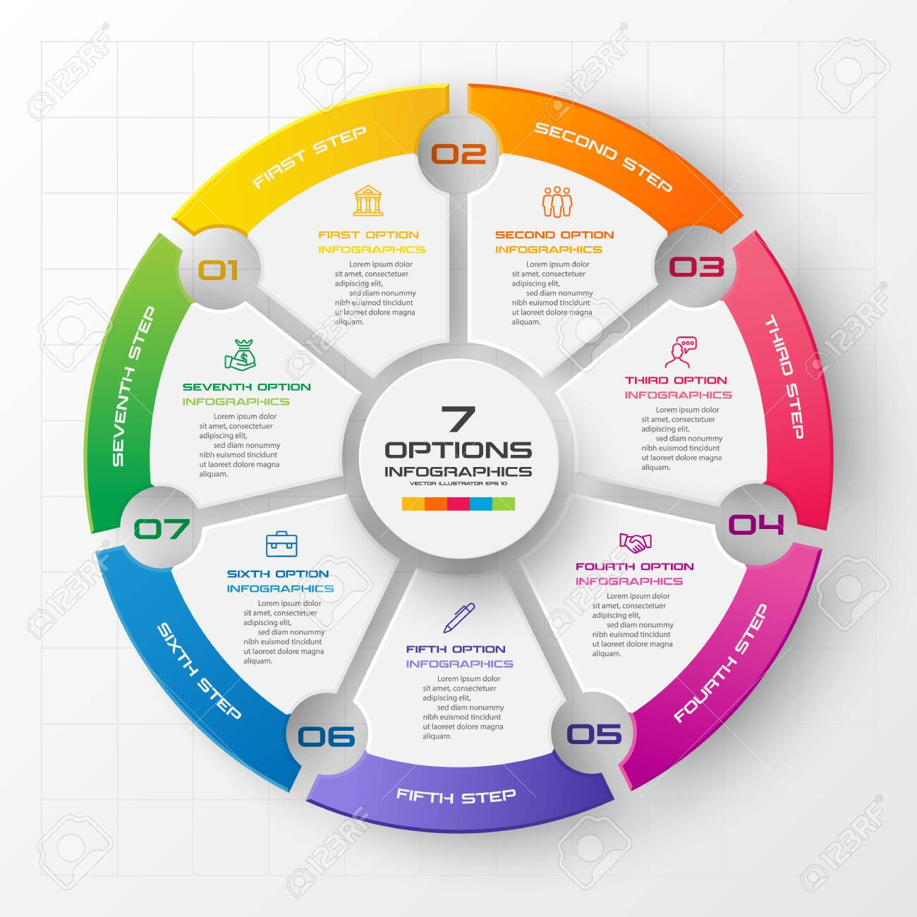 Circle infographic template with 7 options,Vector illustration. - 141510661