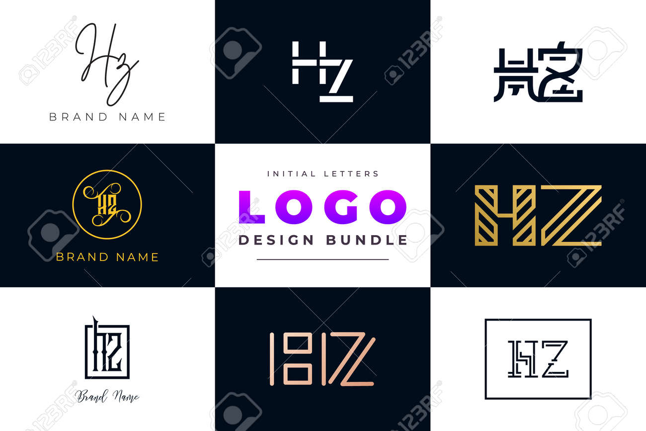Set of collection Initial Letters HZ Logo Design. It will be a creative idea to use for personal branding, business, organization etc. - 171687269