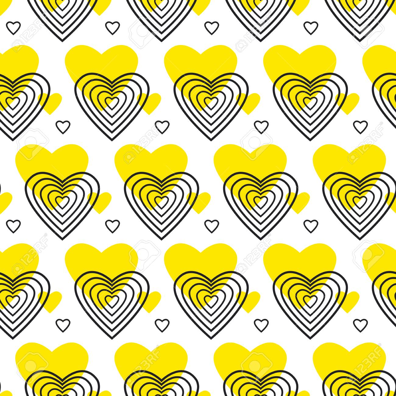 Yellow And Black Pattern With Heart In Art Deco Style. Seamless ...
