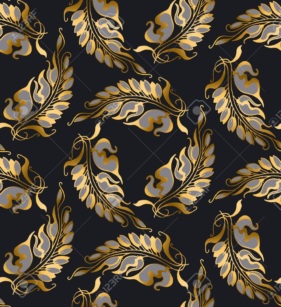 gold art nouveau style pattern illustration royalty free cliparts