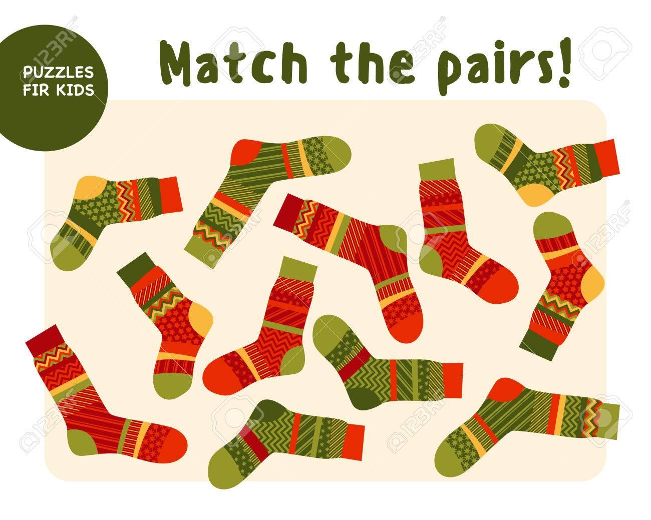 Set Of Cool Warm Striped Socks. Kid Mind Game Vector Illustration ...