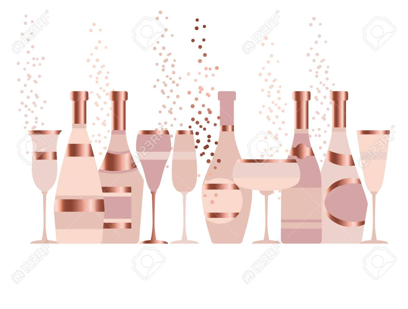 Assorted Sparkling Wine Glasses And Bottles. Champagne Concept ...