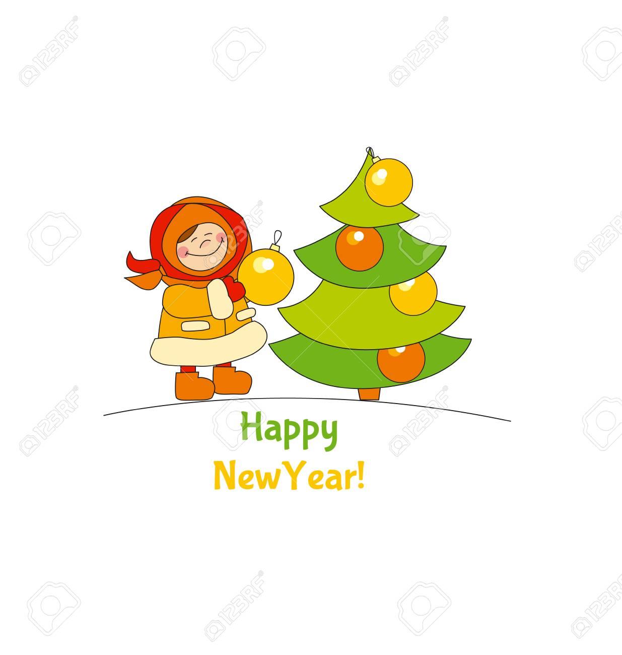 Kleines Mädchen Mit Weihnachtsbaum. Entzückende Kinder Im Winter ...