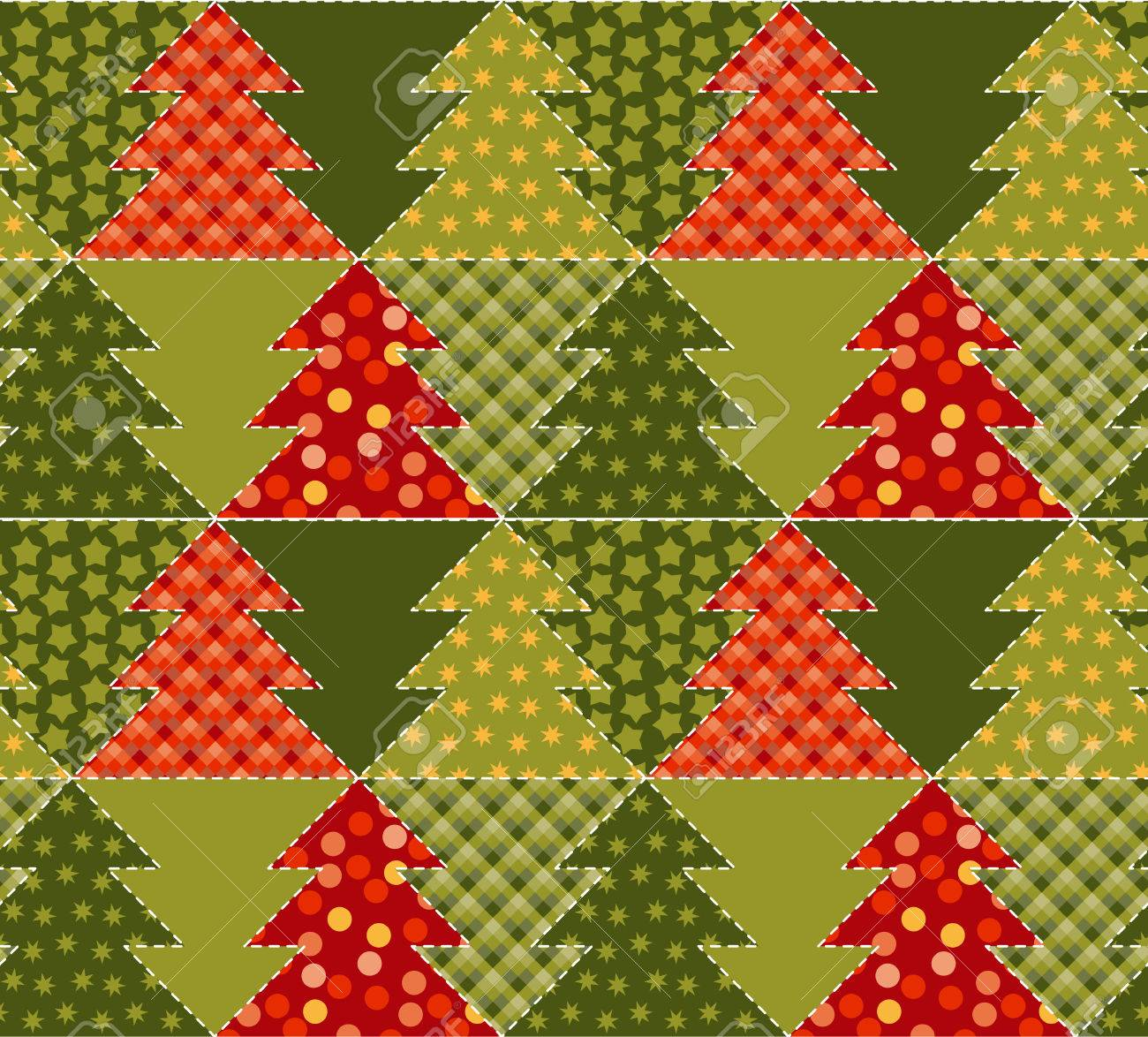 Christmas Tree Green Color Abstract Background In Patchwork Style ...