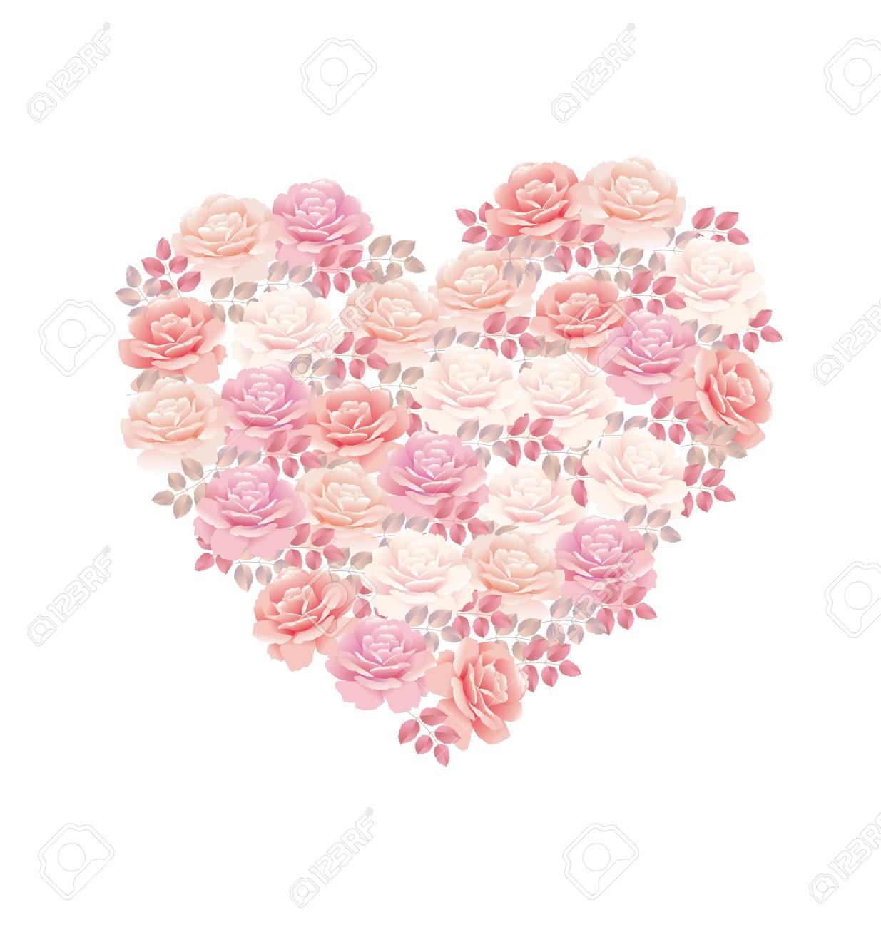 4045ce5074bd tender color pink rose bouquet in heart shape. elegant vector illustration  design element for valentines