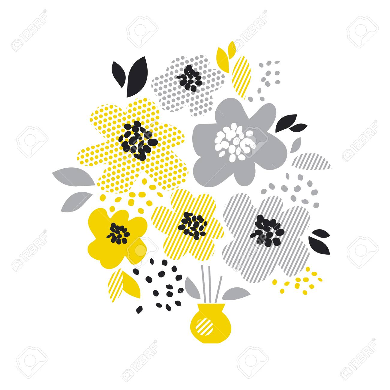 Contemporary Spring Floral Design With Yellow Abstract Flowers