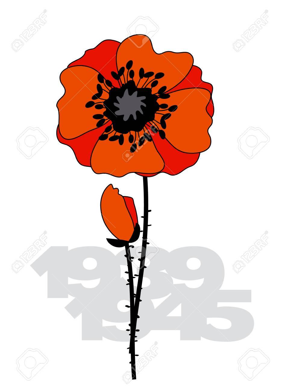 Isolated poppy flower poster ii world war illustration with isolated poppy flower poster ii world war illustration with poppy flower and years numbers stock mightylinksfo