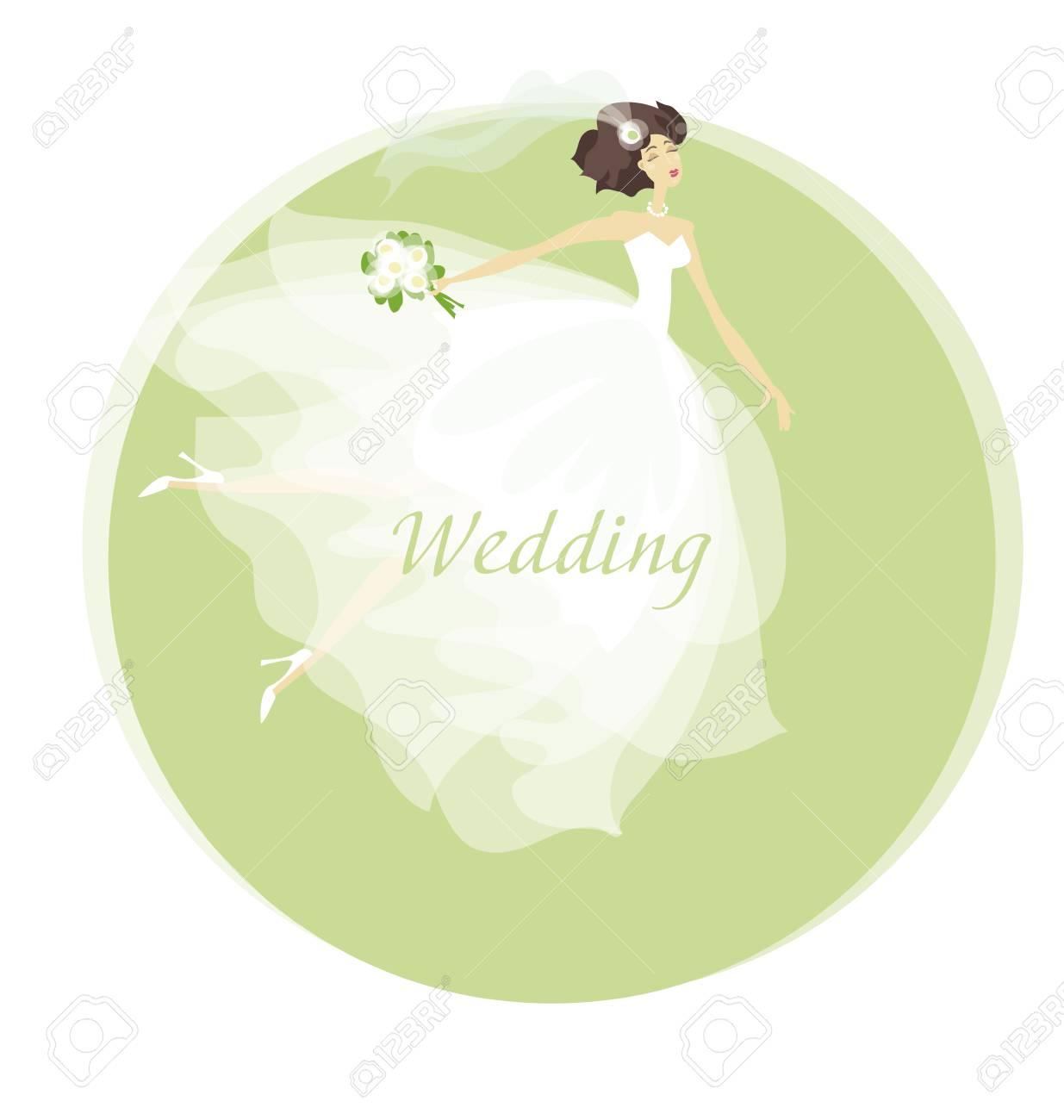 Ilustración Del Vector Del Concepto Del Vestido De Novia De La Novia Primavera Color Pastel Mujer En Vestido Blanco Celebración De Matrimonio