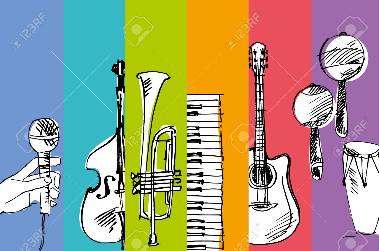 hand drawn vector simple sketch of music illustration Stock Vector - 81566623