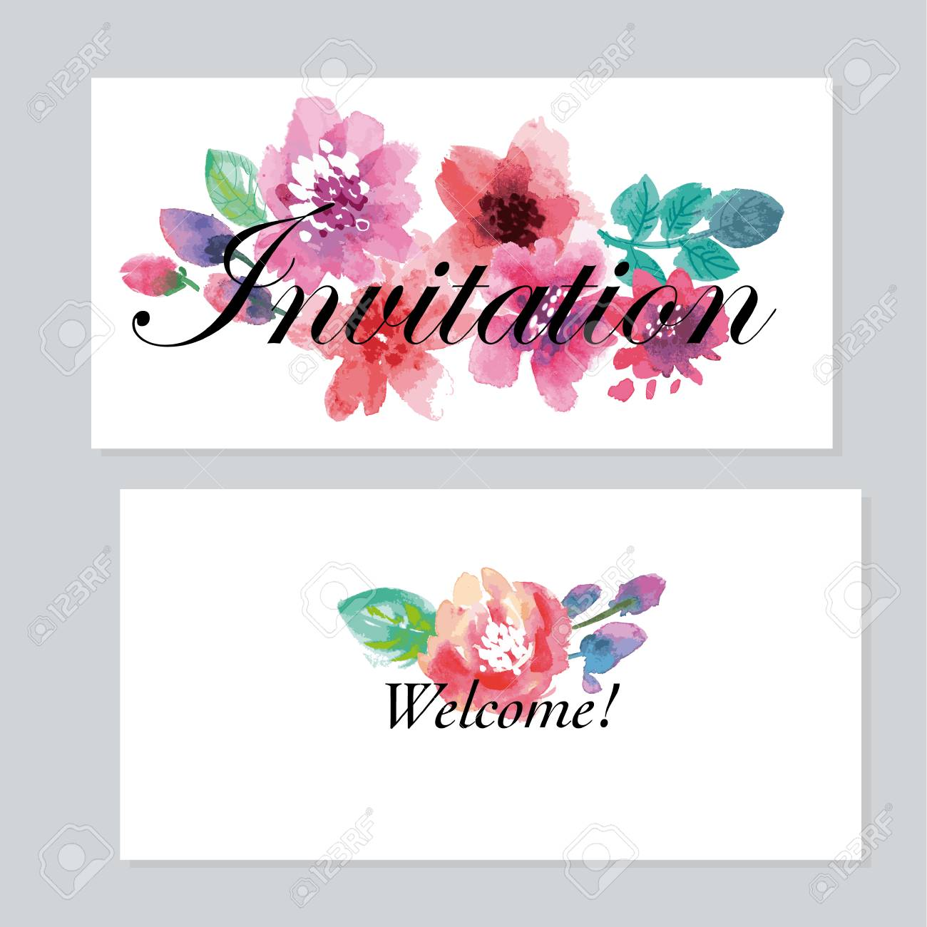a watercolor floral invitation template for wedding hand drawn