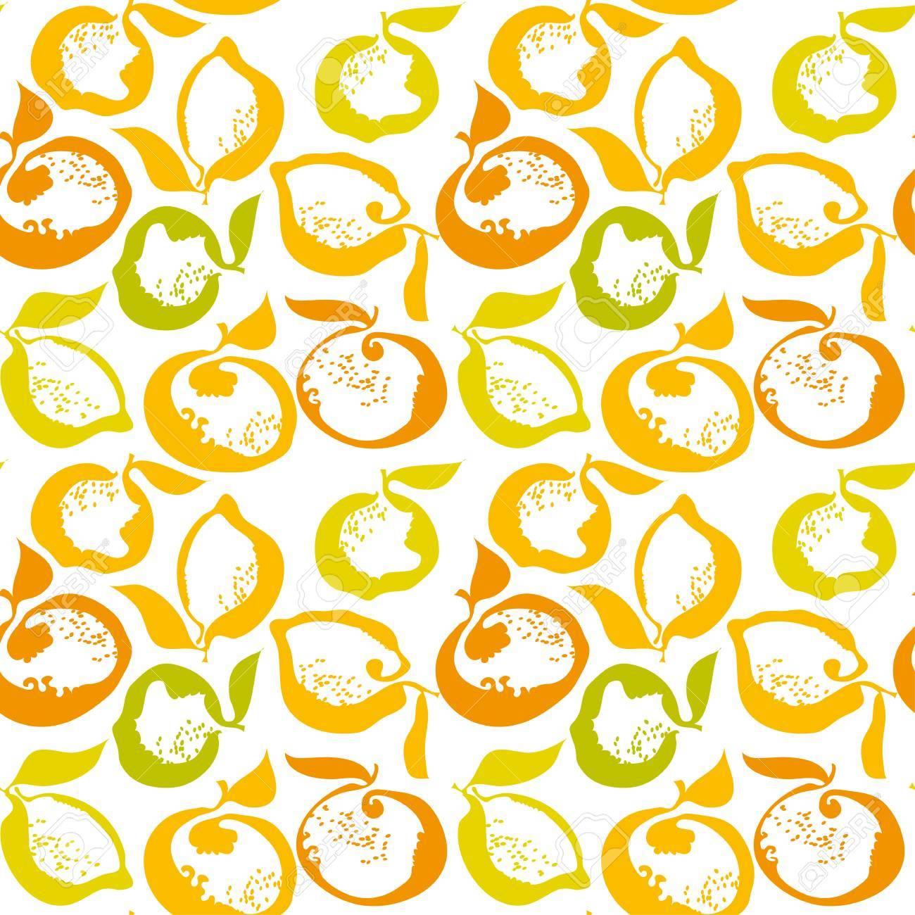 citrus fruit lemon and orange decorative pattern. vector illustration - 81578740