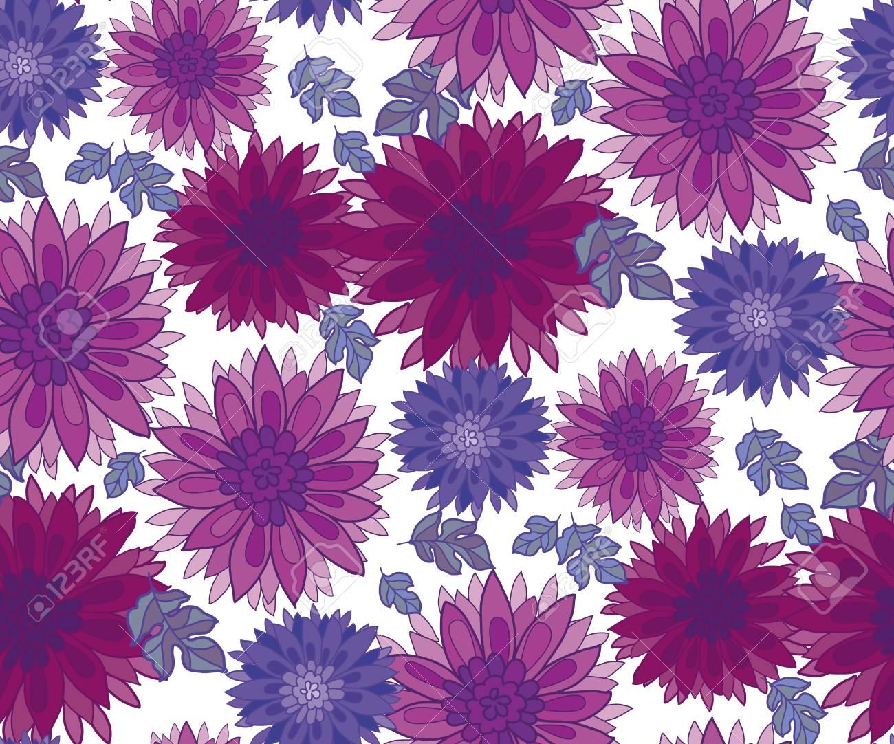 菊の花のタイル デザイン要素。 アスターの花の装飾的なベクトル