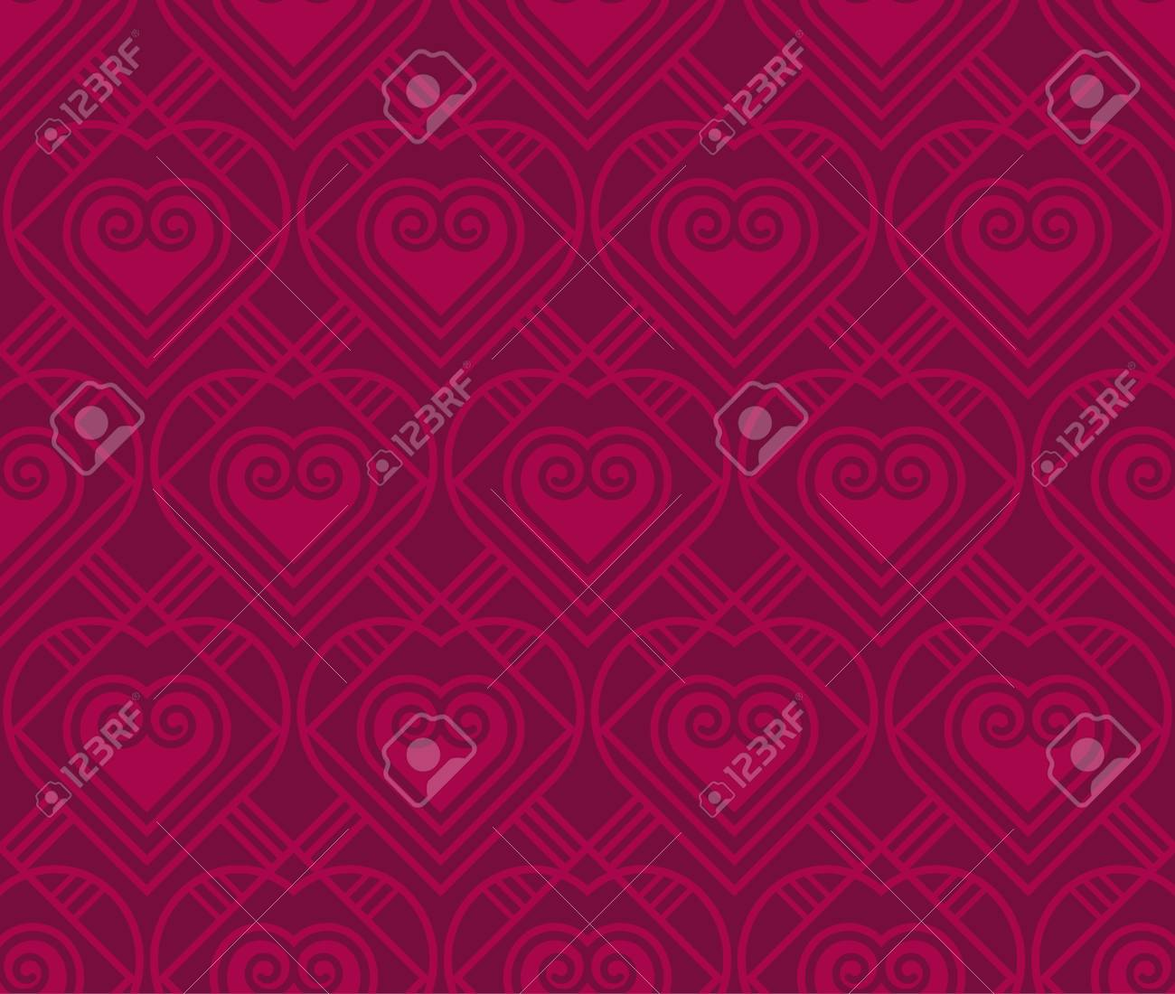 Gold Vector Pattern With Heart In Art Deco Style. Seamless Motif ...