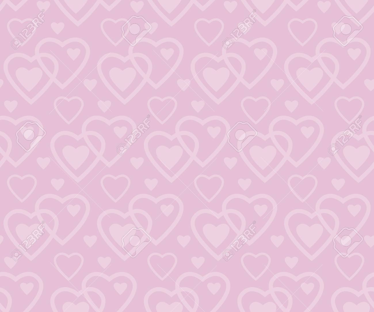 Pale Rose Color Vector Pattern With Heart In Art Deco Style