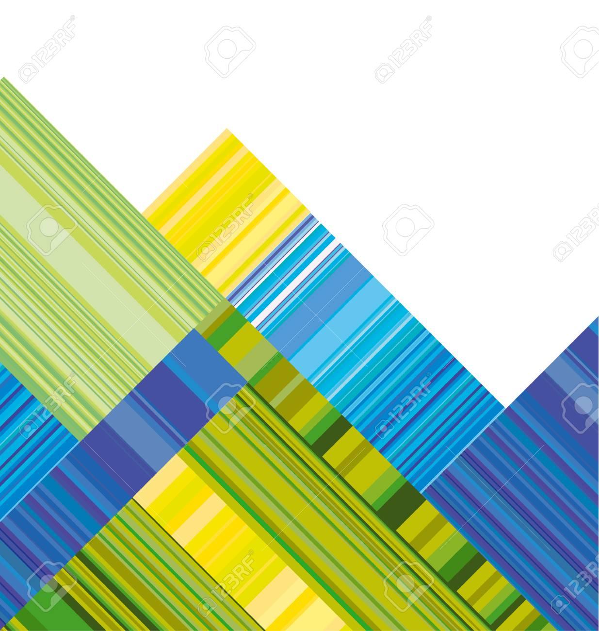 Muster Tapete. Geometrischen Hintergrund. Blaue Und Grüne Vektor Header Mit  Buntem Streifen. Linie Streifen Stil Farbe Design.