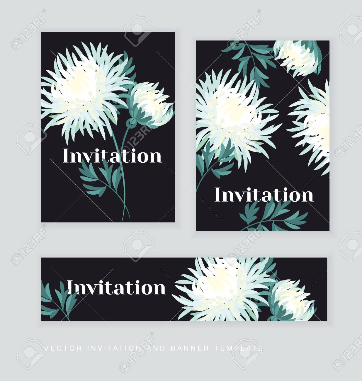 white autumn chrysanthemum flower card template golden daisy