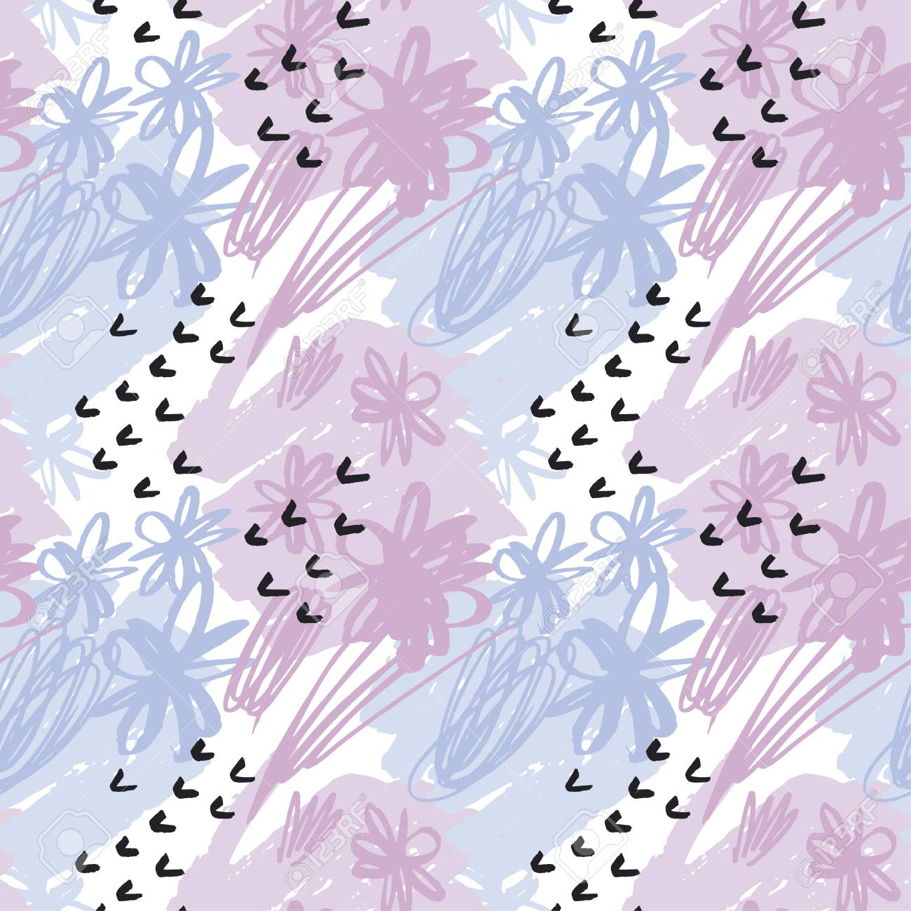 seamless pattern pastel color wallpaper. vector illustration for fabric with floral natural motif. pencil