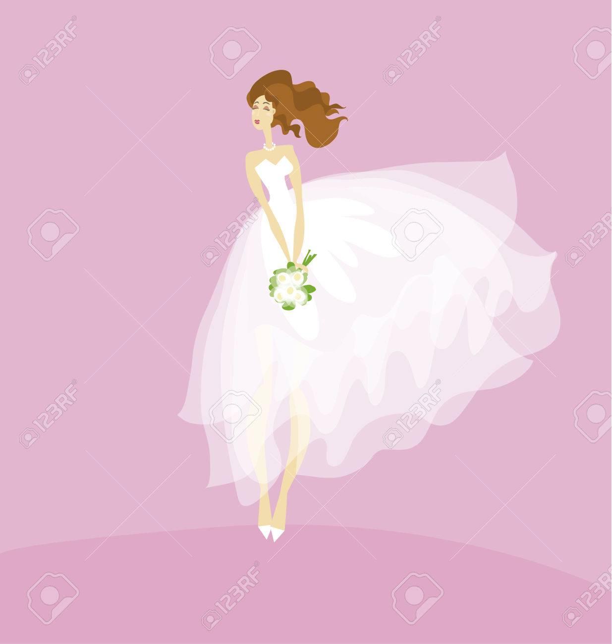 Elegante Novia En Concepto De Vestido Blanco. Velo Transparente ...