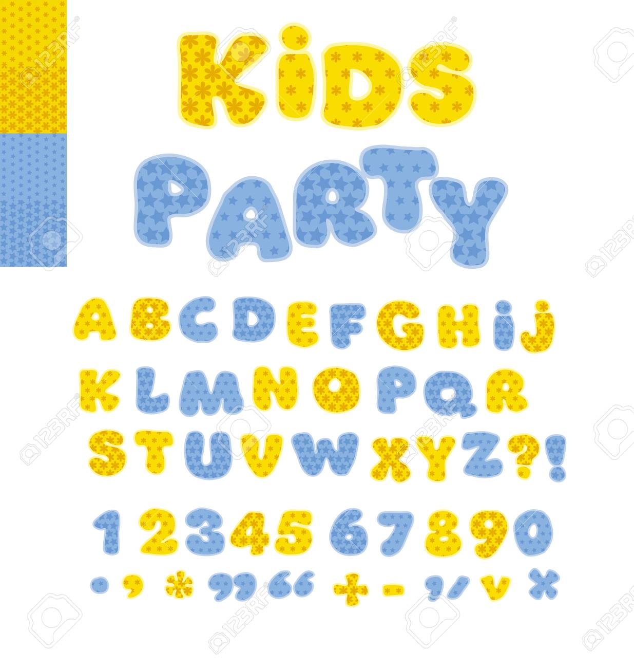Funny Alphabet For Children Cute Cartoon Alphabetic Letters In Blue Colors Bold Soft Font
