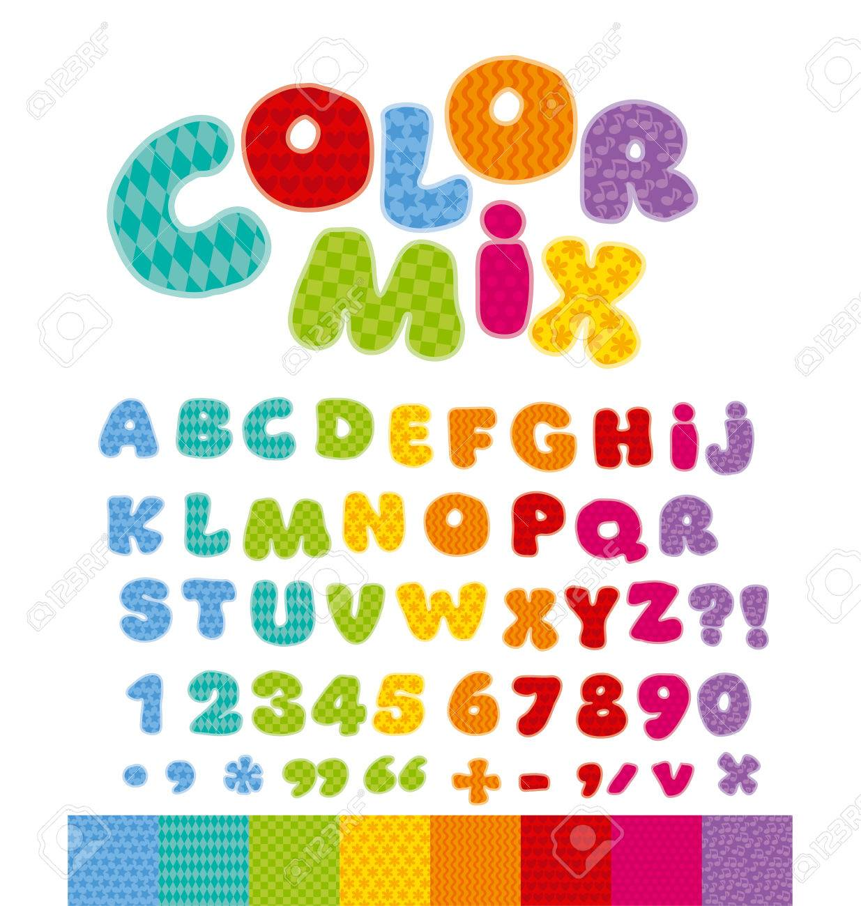 Funny Alphabet For Children With Patchwork Patterns Cute Cartoon Alphabetic Letters In Rainbow Colors