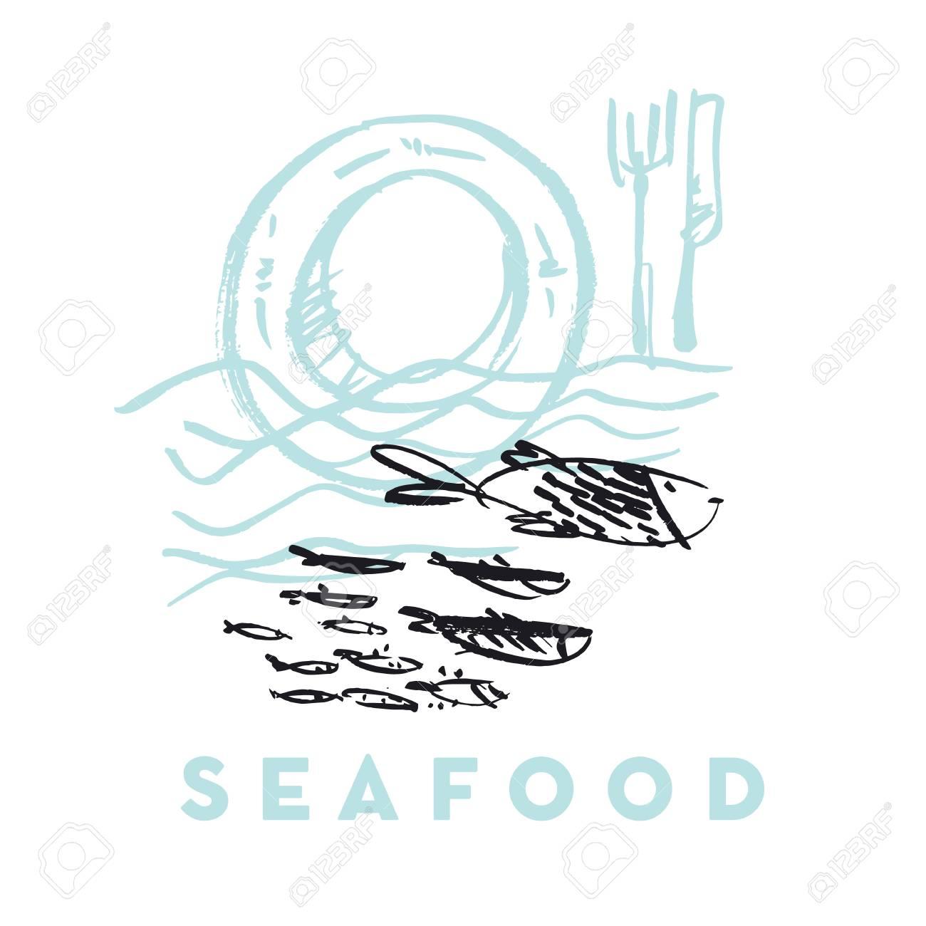 Pescado De Mar Y Elementos De Diseño Dibujado A Mano Abstracta De La ...