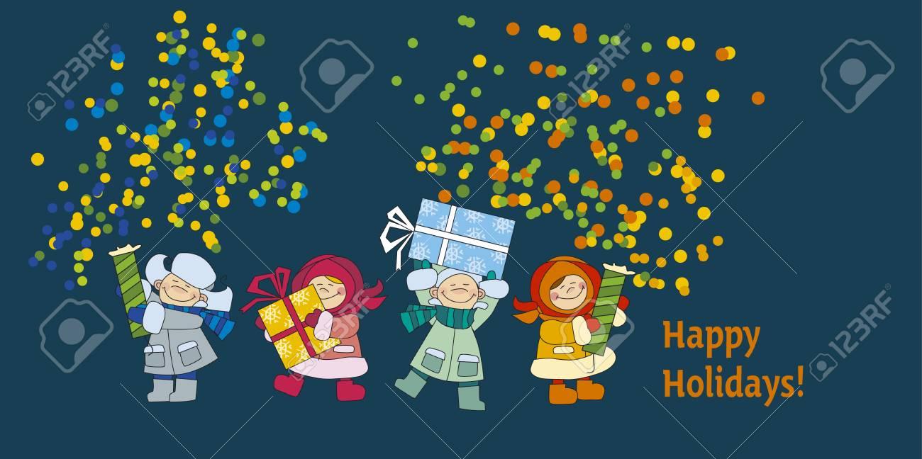 Frohes Neues Jahr Und Weihnachten Poster Vorlage Mit Kindern Im