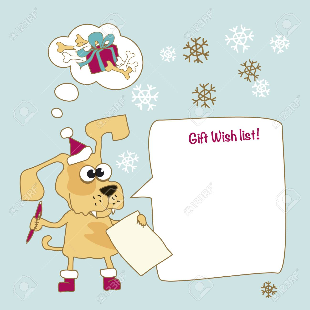 Cool Yellow Dog Mascot Cartoon. Funny Winter Xmas Animal In Santa ...