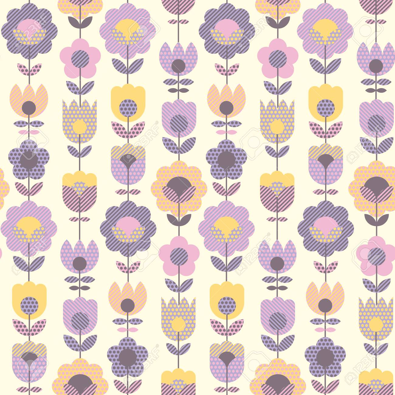 Geometric Decorative Flower Pattern For Fabric Wrapping Paper