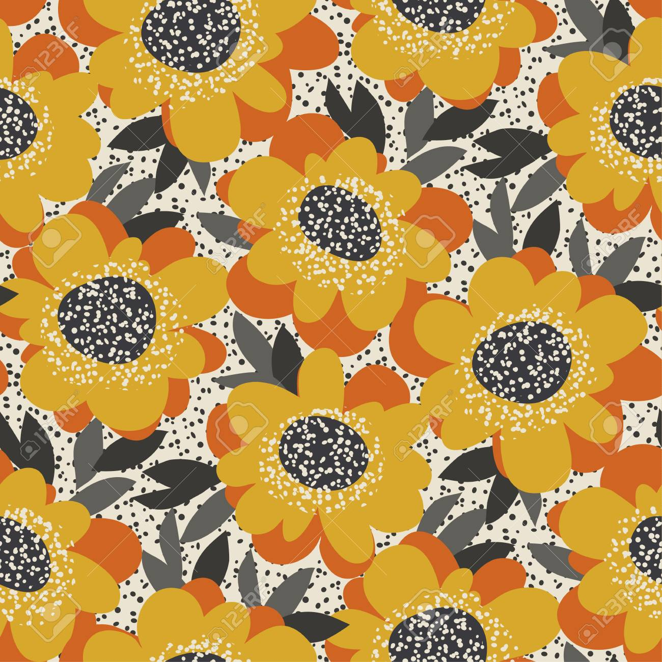 Simple Free Drawn Floral Seamless Pattern Retro 60s Flower Motif