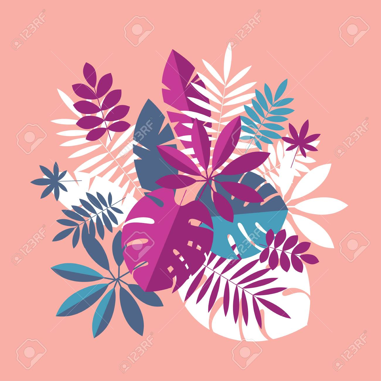 Vibrant Bright Simple Tropical Leaves Design Element For Header Royalty Free Cliparts Vectors And Stock Illustration Image 103501669 Coconut leaves green leaves tropical plants. vibrant bright simple tropical leaves design element for header