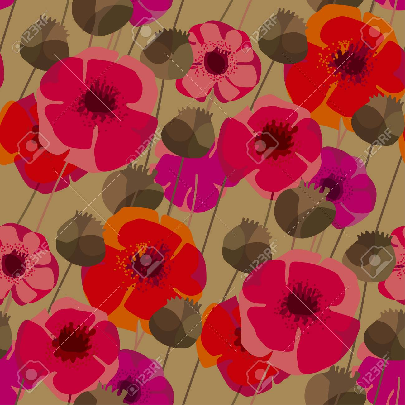 Poppy Flowers And Seed Boxes Seamless Pattern For Background