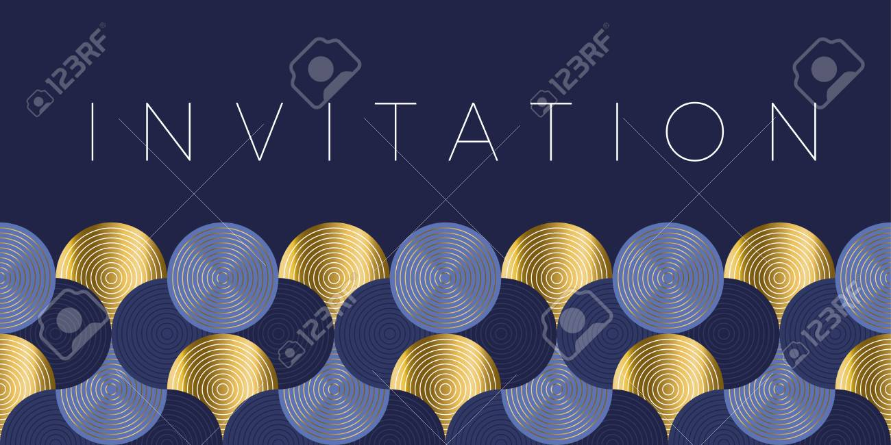 Geometric luxury water waves header pattern. Blue sea wave vector illustration for invitation, cover, border. element for design. - 108866568