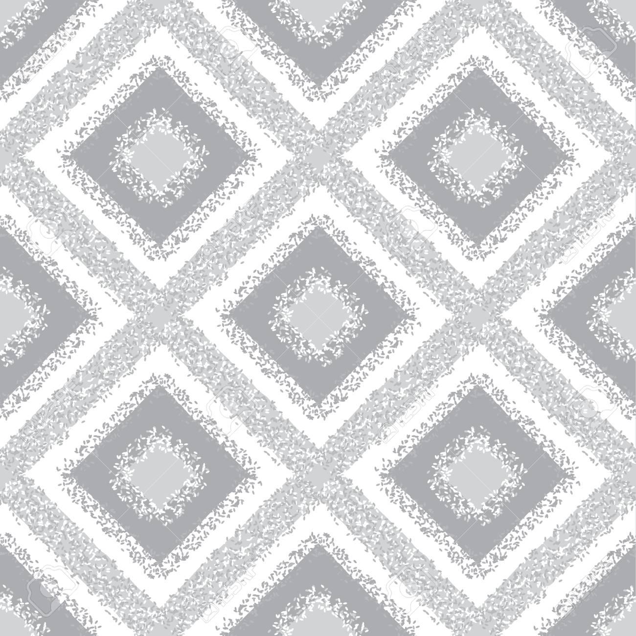 Gray Rhombus Carpet Seamless Pattern Geometric Dotted Textured