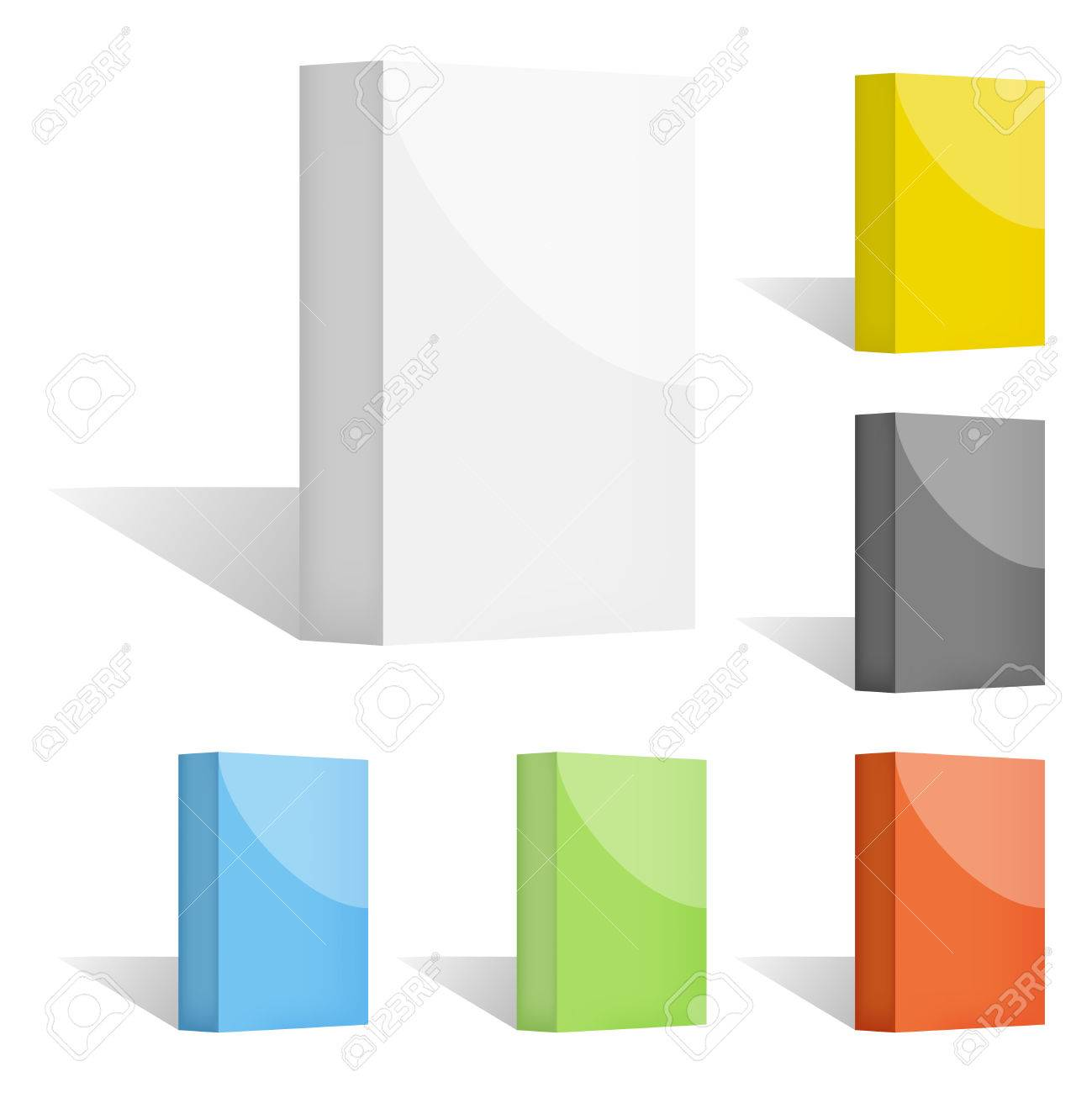 Set of clean vector color blank 3d boxes with shadows Stock Vector - 23114162