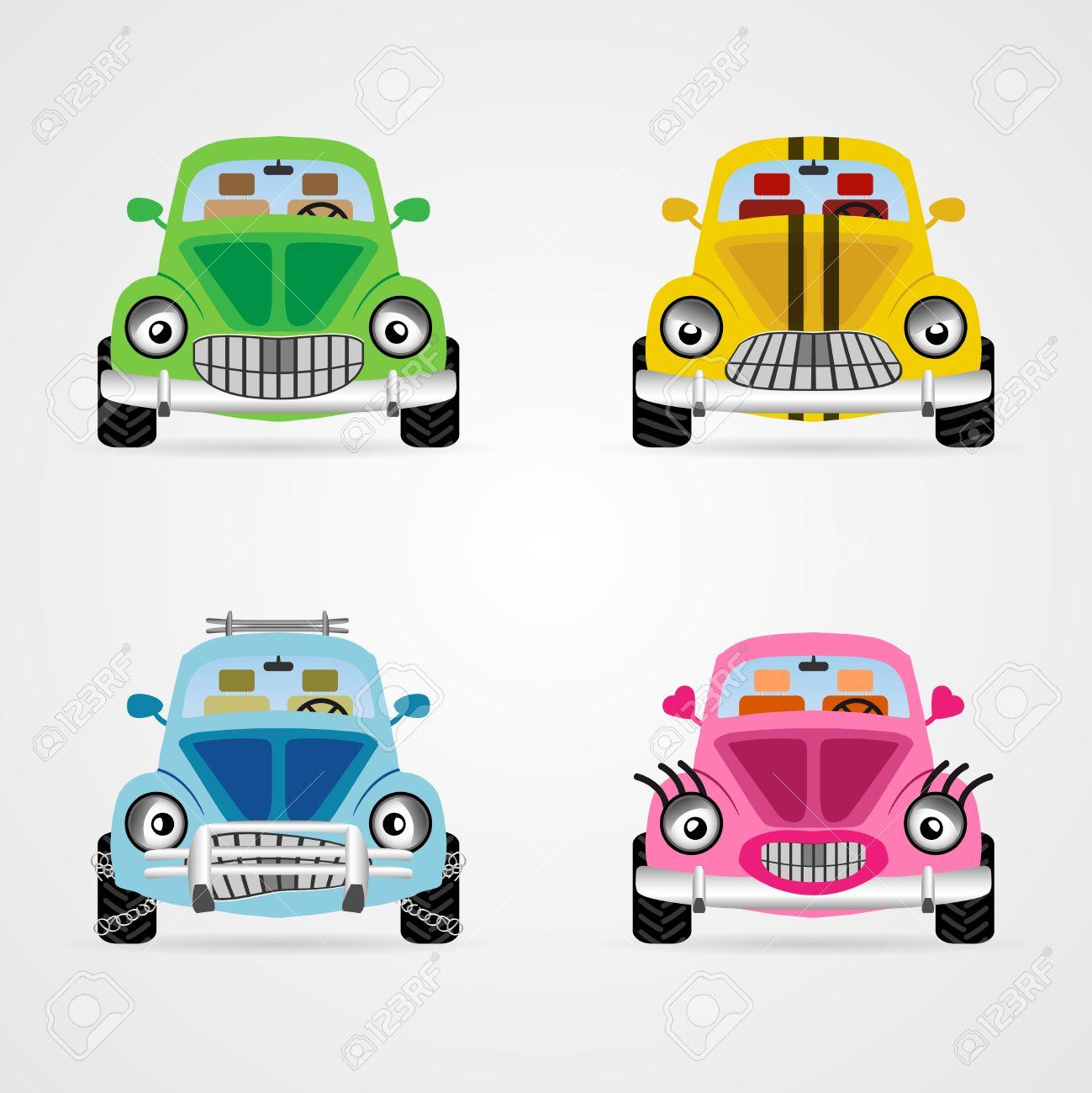 Ensemble de mignons illustrations de voiture de dessin animé de vecteur dans différentes ambiances et couleurs