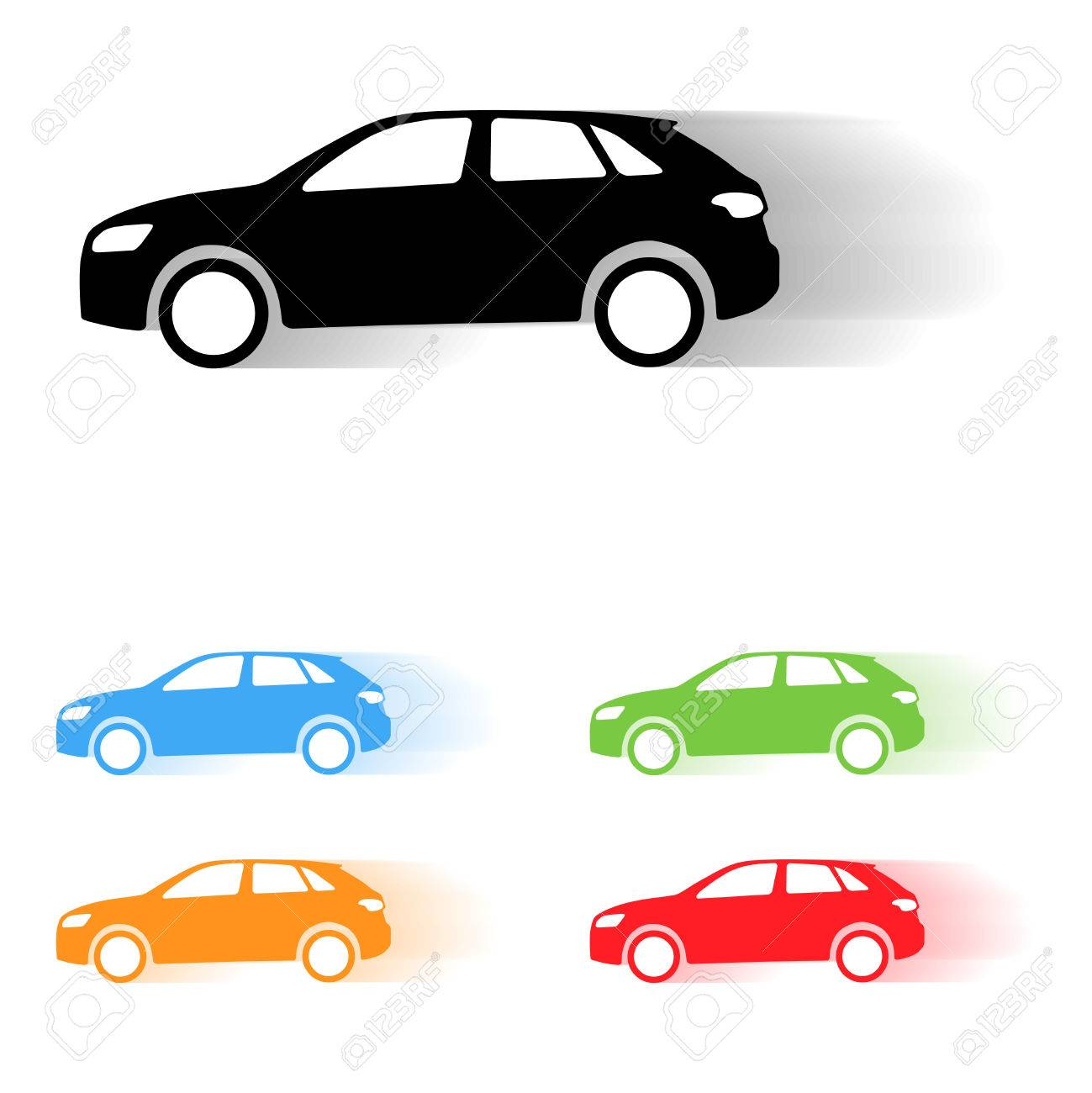 Set Of Vector Suv Car Moving Silhouettes Royalty Free Cliparts