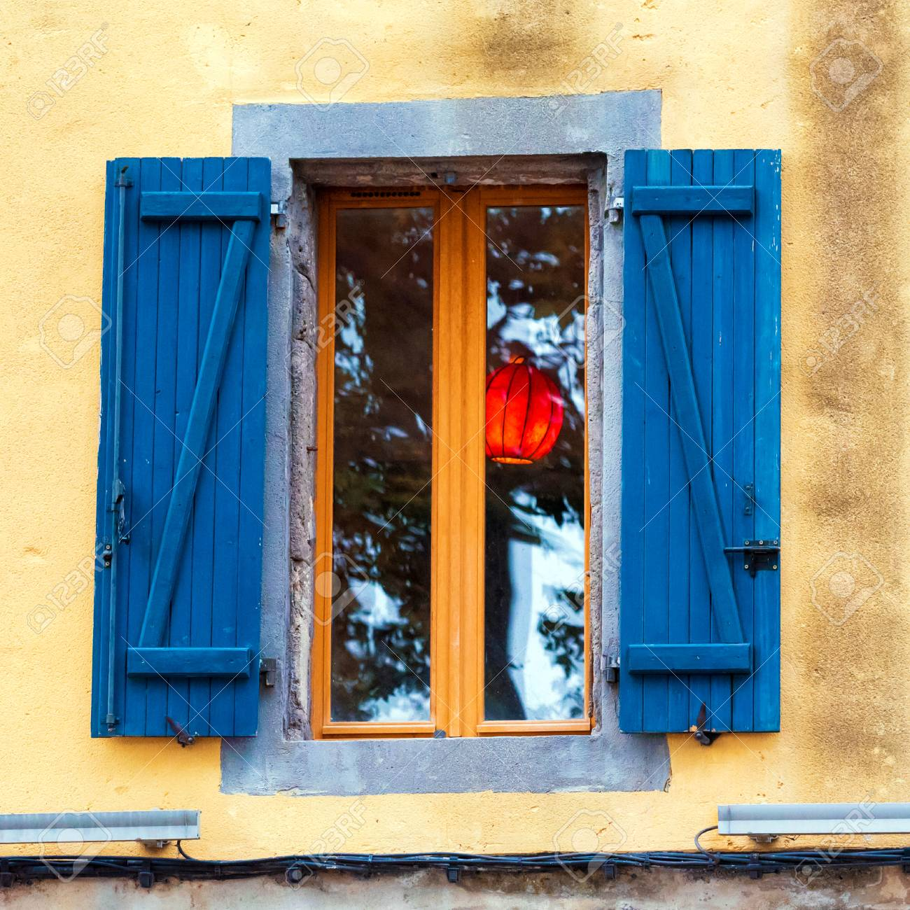 Traditional French Window With Shutters Agde France Close Up