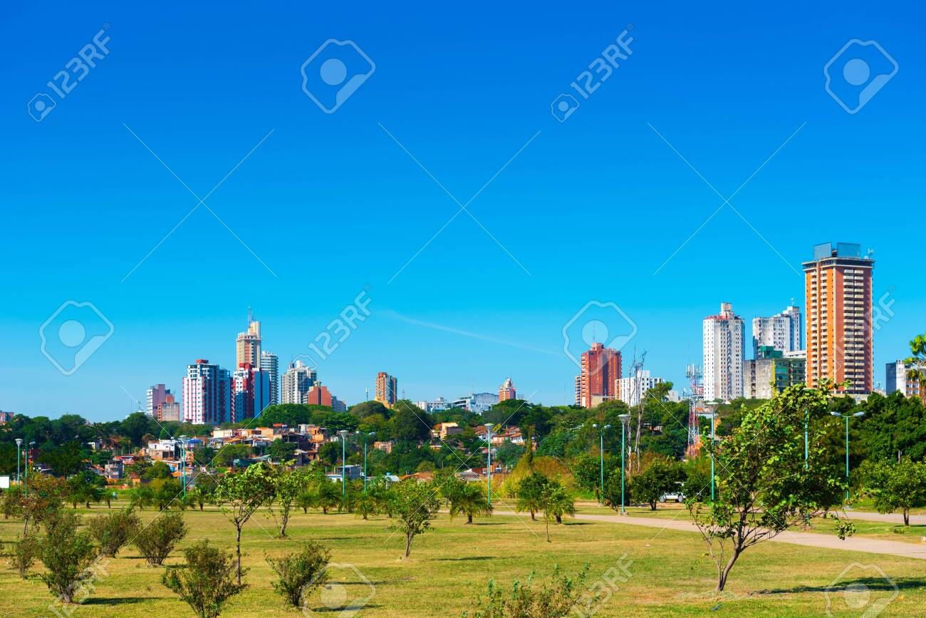 Skyscrapers and city buildings, Asuncion, Paraguay. City landscape. Copy space for text - 136119117