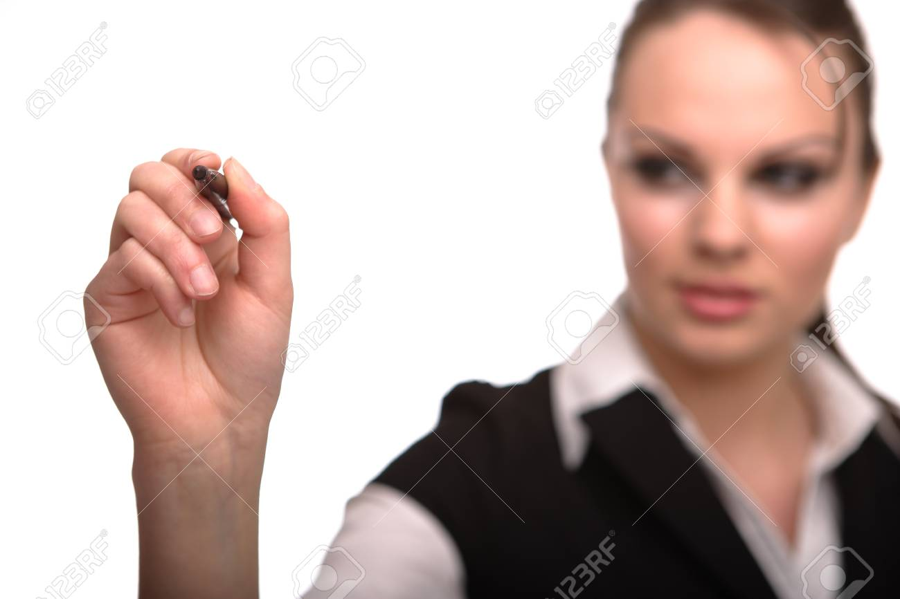 young businesswoman with pen Stock Photo - 7042179