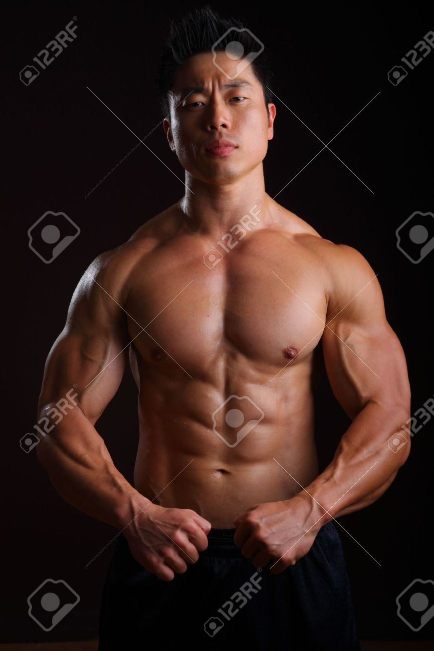 Asian Body Builder front muscles, biceps, abs, pecks Stock Photo - 16940359