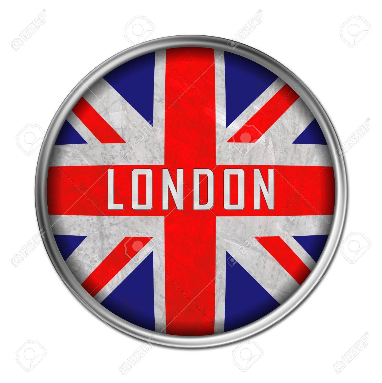 London Flag Button Stock Photo
