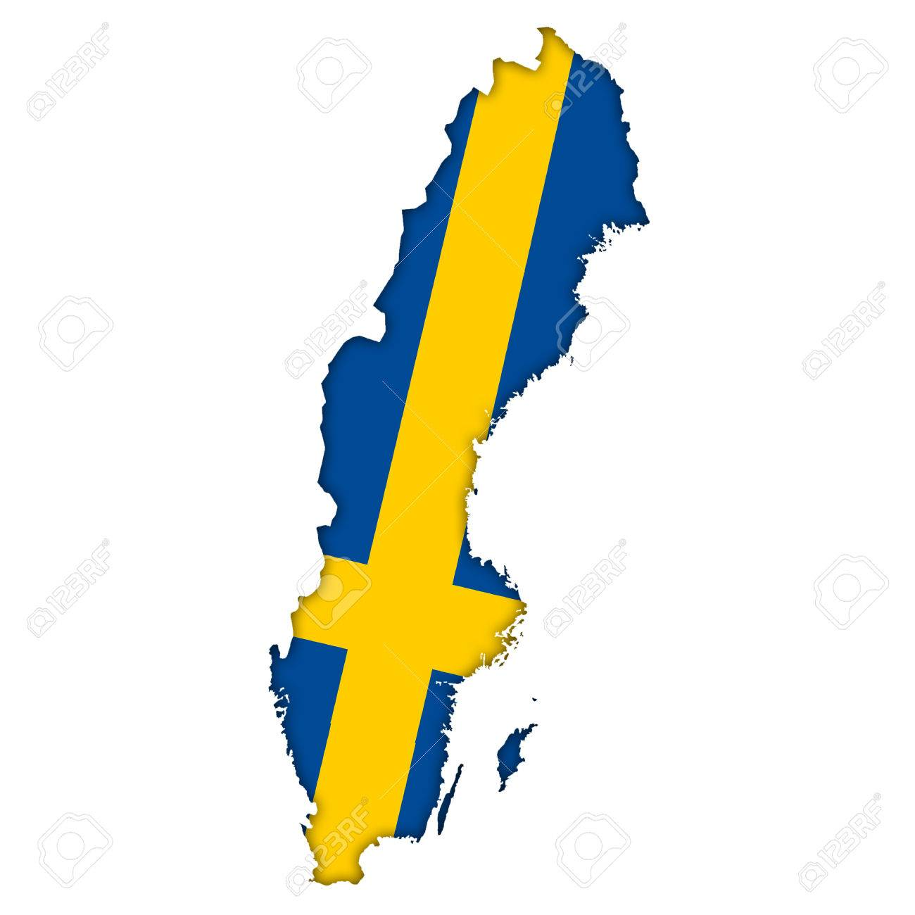 Sweden Flag Map Icon Stock Photo Picture And Royalty Free Image - Sweden map flag