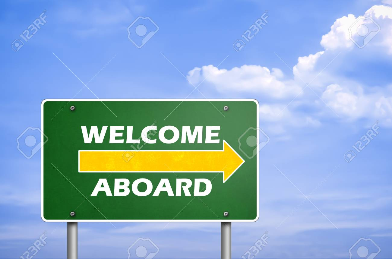 Welcome Aboard Road Sign Greetings Stock Photo Picture And