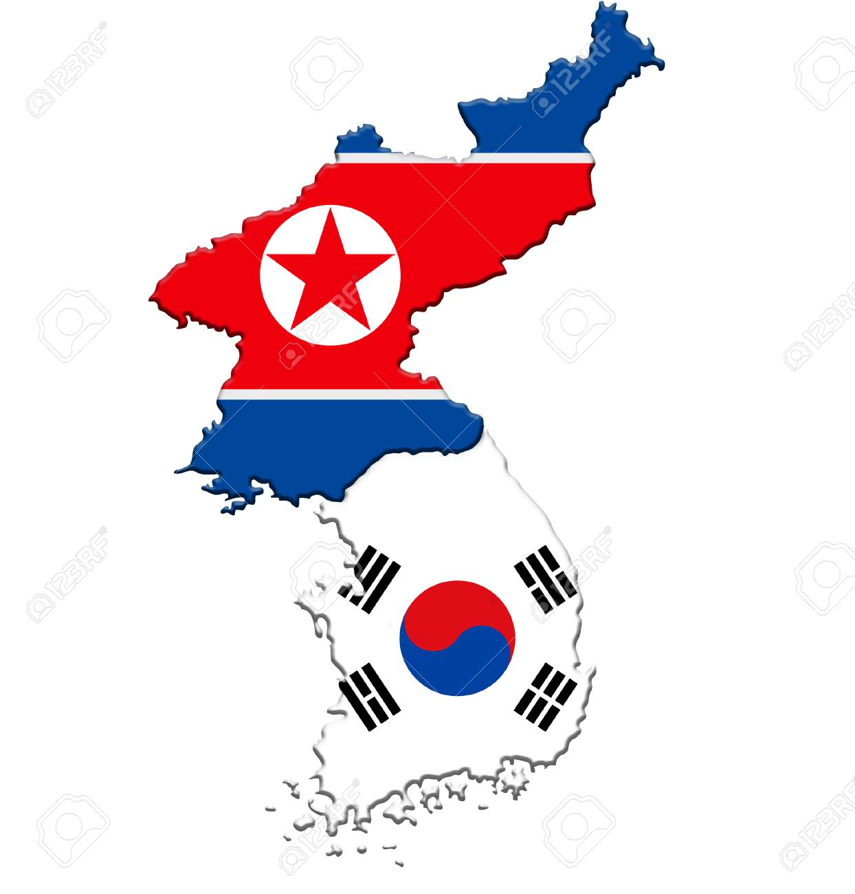 North Korea And South Korea Map Flag Icon Stock Photo Picture And