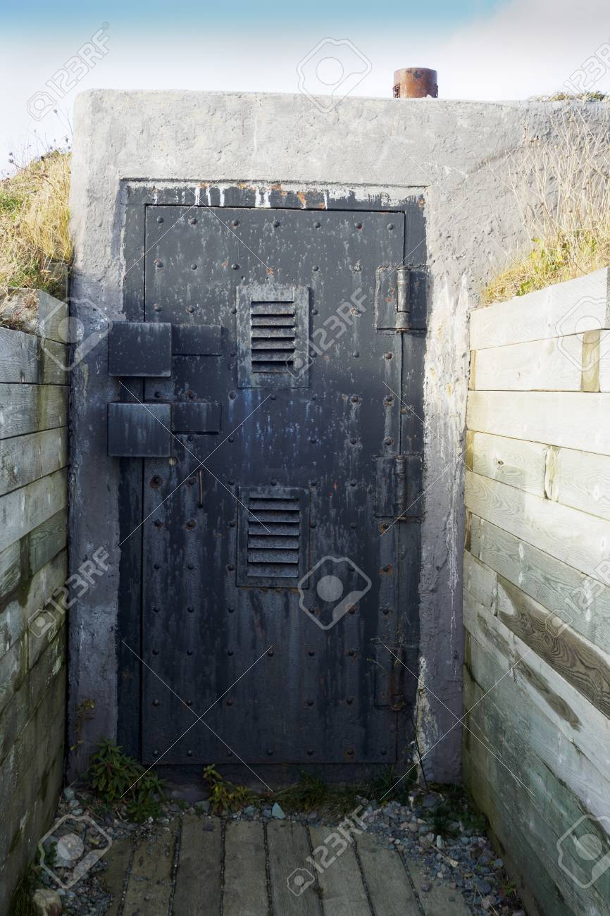 Door to an old military bunker from world war II